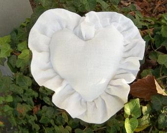 Ruffled Heart Pillow White Linen Pillow Ruffled Pillows Custom Sizes Ring Bearer Pillow Decorative Pillow French Country Cottage