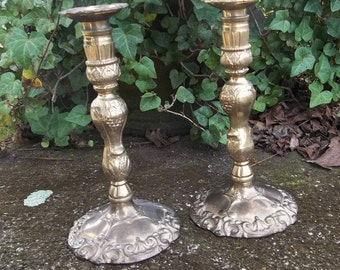 Ornate Brass Candle Holders Vintage Pair Brass Candlesticks Wedding Decorations Table Decor Rustic Lighting Candleholders Set of 2