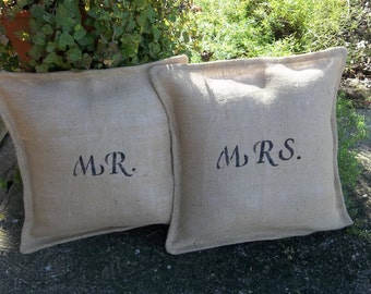 Mr & Mrs Pillow Shams Burlap Pillows Wedding Gift Anniversary Pillow Wedding Decor French Country Wedding Burlap Pillows Personalized