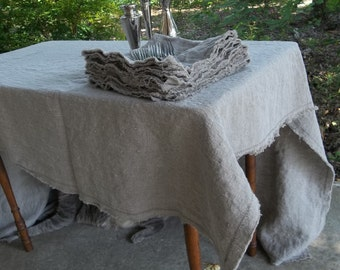 Natural Linen Tablecloth Custom Tablecloth Washed Linen Napkins Handmade Well Wrinkled Tablecloth Wedding Decorations Table Decor Quick Ship