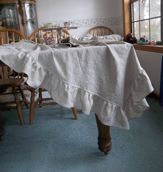 Linen Table Scarf Custom Sizes and Colors Farmhouse Decor Cottage Style Dining Ruffled Table Throw