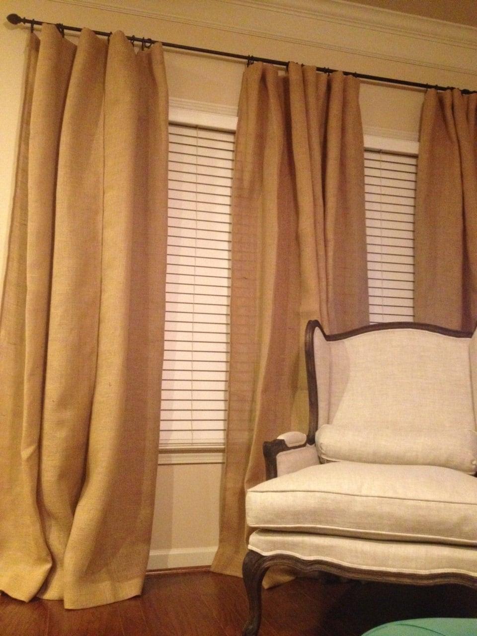 Sackleinen drapiert Sackleinen Fenster Behandlung Rüschen