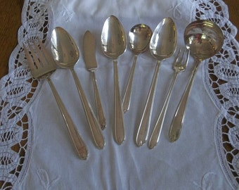 Silver Plate Flatware Serving Set Silver Plate Ladle Butter Knife Pickle Fork Serving Spoons French Country Farmhouse Flatware Set of 8