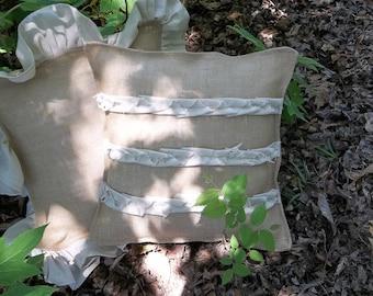 Handmade Burlap Pillow Throw Decorative Pillow French Country Prairie Farmhouse Ruffled Burlap Pillow Cover Accents Pillow