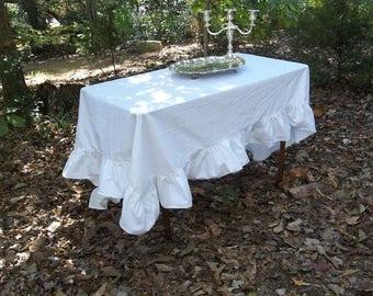 White Tablecloth Custom Made Ruffled Tablecloth Cotton or Linen White Table Cloth Table Linens