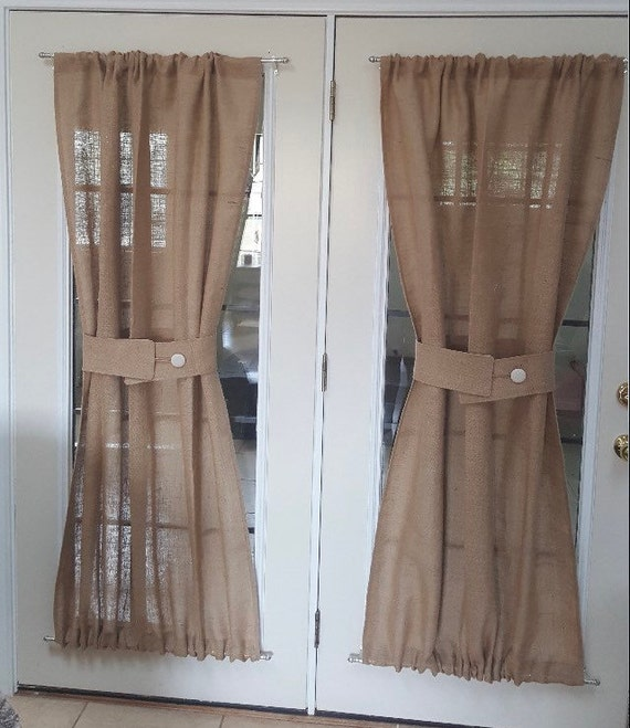 Burlap Sheers French Door Drapes Burlap Curtains French Country Window  Treatment Burlap Panel Lined Burlap Drapes Custom Made To Order