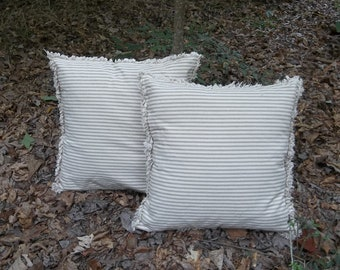 CUSTOM Ticking Pillows Decorative Pillows Ticking Pillow Shams Bedroom Pillows French Country Accent Pillow Cover Choice of Colors Set of 2