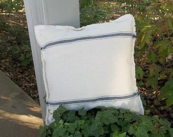Grain Sack Pillow Farmhouse Pillow Sham Custom Sizes Blue Stripe Pillow Cover Throw Pillow Grain Sack Fabric French Country Farmhouse