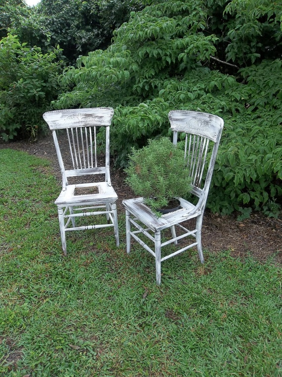 Items Similar To Garden Decor Vintage Chairs Plant Stand