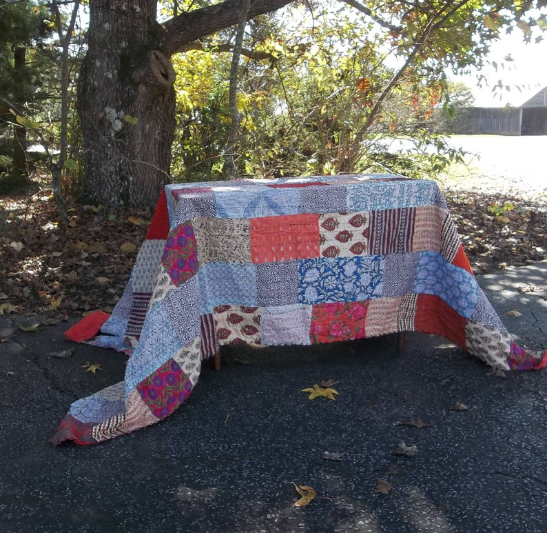 Boho Quilt Kantha Quilted Throw 60x92 Handmade Quilt Quilted Bedding Boho Bedspread Boho Tablecloth Pieced Quilt