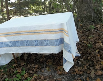 Vintage Damask Tablecloth 58 x 78 Mid Century Table Cloth Retro Kitchen Decot RV Decor