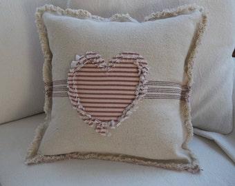 Heart Pillow Grain Sack Pillow Ticking Heart Frayed Edge Pillow Sham Custom Sizes and Fabrics Insert Available
