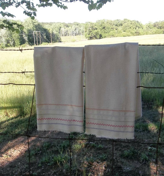 Farmhouse Kitchen Linens: Pair Farmhouse Kitchen Towels Natural Cotton Tea Towels