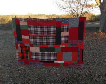 Plaid Wool Blanket   Wool Stadium Blanket   Crazy Quilt Blanket   Primitive Farmhouse Rustic Cabin Decor Plaid PicnicThrow