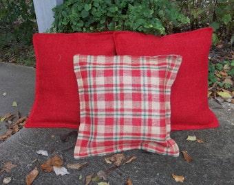 Plaid Burlap Pillows Set 3 Red Burlap Pillows Farmhouse Pillows Decorative Pillows Burlap Pillow Covers