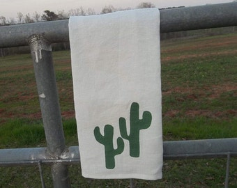 Cactus Design Linen Towel Neutral Cactus Towel Handmade Custom Colors Neutrals