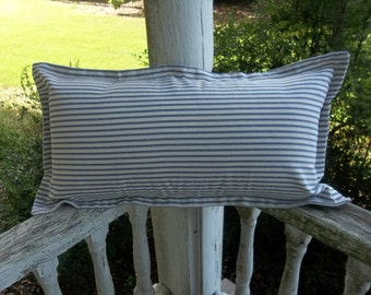Lumbar Ticking Pillow Blue Ticking Pillow Sham Porch Pillow Farmhouse Decor French Country Cottage Style More Colors and Sizes Available