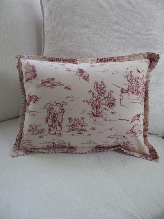Americana Pillow Patriotic Pillow Ticking And Toile Pillow Etsy Gorgeous Americana Decorative Pillows