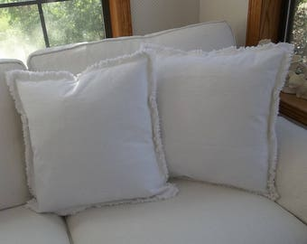 Bright White Pillow Shams Custom Sizes Drop Cloth Pillows Frayed Edge Pillows Raggedy Decorative Pillows Sold Separately or as a Pair