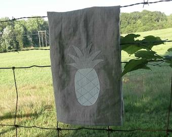 Pineapple Tea Towel Natural Linen Kitchen Towels Handmade Welcome Summer Linen Towels French County Natural Linen Towel