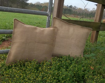 Pair Burlap Pillows Custom Sizes Burlap Pillow Covers Pillow Shams Farmhouse Pillows Handmade Pair Bed Pillows French Country Fabric Choices