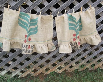 Ruffled Burlap Curtain Coffee Sack French Country Farmhouse Kitchen Window Treatment Burlap Panel Rustic Curtain Made to Order Custom