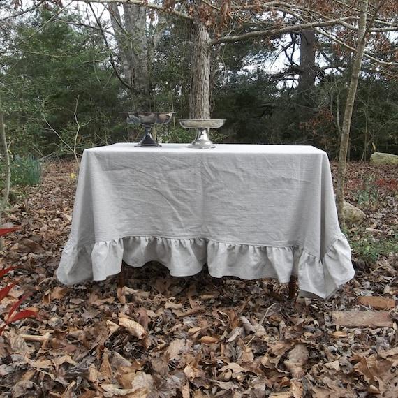 Linen Tablecloth With Ruffles Custom Ruffled Tablecloth Etsy