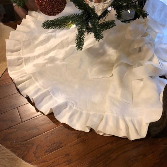Linen Christmas Tree Skirt: Ruffled Tree Skirt Linen Tree Skirt Farmhouse Christmas