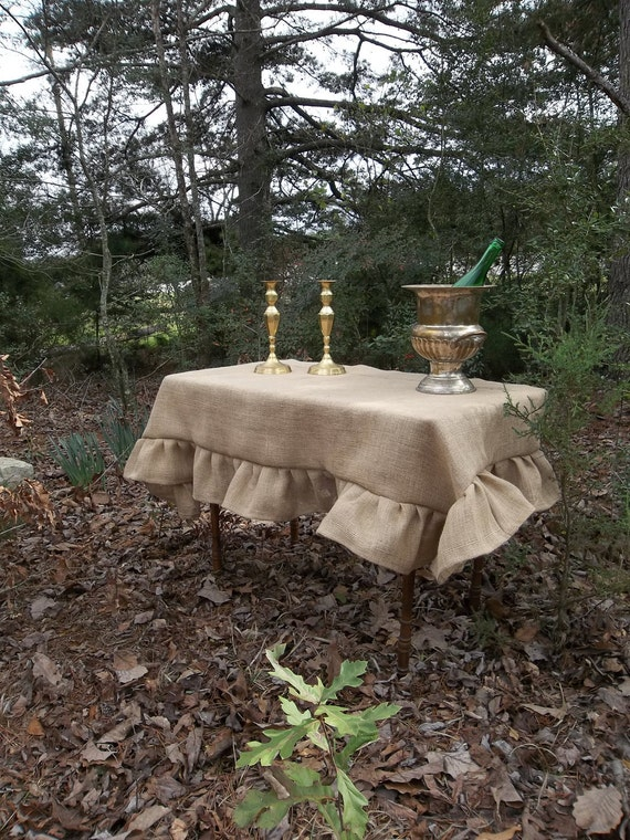 Custom Ruffled Burlap Tablecloth Handmade Ruffled Tablecloth Etsy