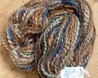 Terra Cotta Dreams - 3 ply handspun artyarn - mega skein of 11 oz & 280 yards - handpainted merino lambswool cotton acrylic woolblend