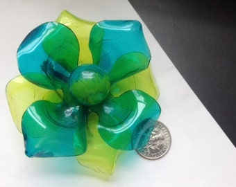 Vintage Big Flower Translucent Two-Layer Pin