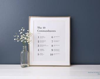 The 10 Commandments Traditional Print Yourself DIY Christian Religious Modern Art LDS Artwork