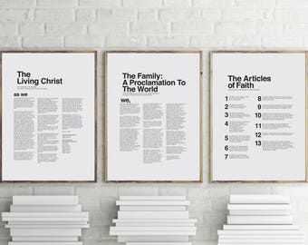 """16"""" x 20"""", 24"""" x 30"""" THREE PACK LDS Modern Proclamation to the Family, Articles of Faith, and The Living Christ You Print Printable"""