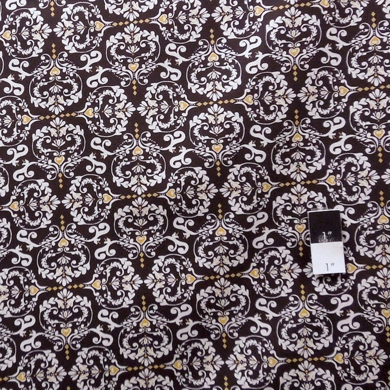 Valori Wells PWVW051 Novella Hear de Flur Charcoal Cotton Fabric 1 Yd