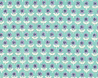 Joel Dewberry VOJD014 Modernist Tulip March Aqua Cotton VOILE Fabric By Yard