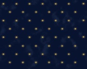 Stof Fabrics 4594-006 Starlight Sparkle Navy Cotton Fabric By The Yard