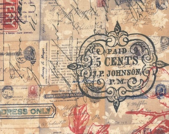 Tim Holtz PWTH043 Correspondence Special Delivery Neutral Fabric By Yard