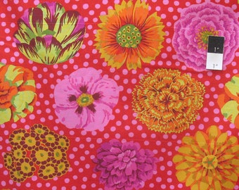 Kaffe Fassett GP91 Big Blooms Red Cotton Fabric By The Yard