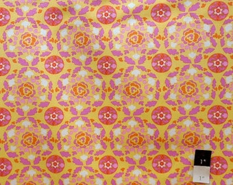 Dena Designs LIDF001 Sunshine Circle Yellow LINEN Fabric 1 Yd