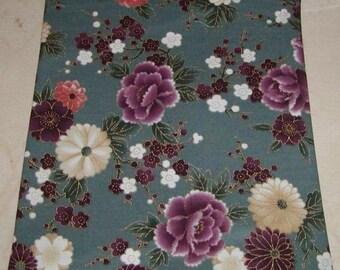 Grey Flower zipper make up bag