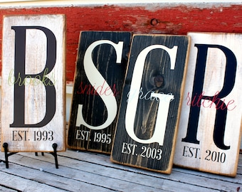 Personalized Monogram Letter with Family Name and Est. Year Sign...
