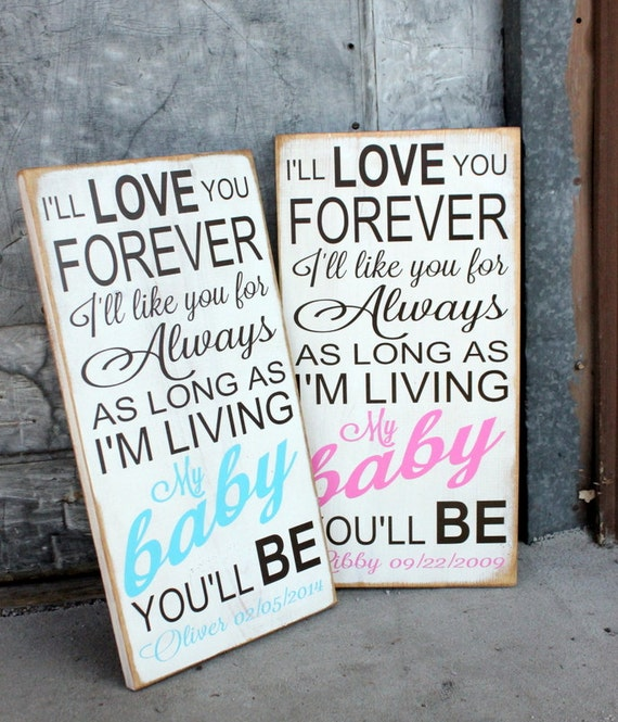 Personalized I'll Love You Forever Baby Name and Birth-date Sign   Subway  Art Style