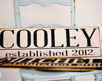 Personalized Family Name and Established Year Sign