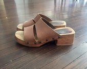 Vintage Wood Platform Sandals