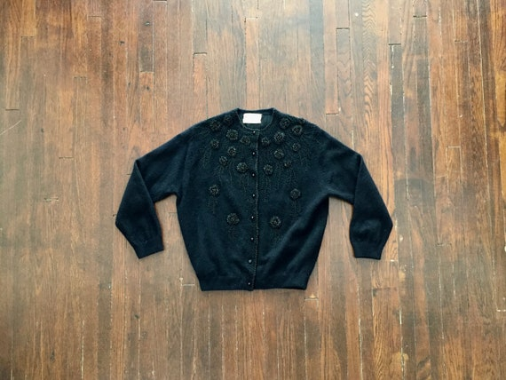 1950s Beaded Wool + Angora Cropped Sweater