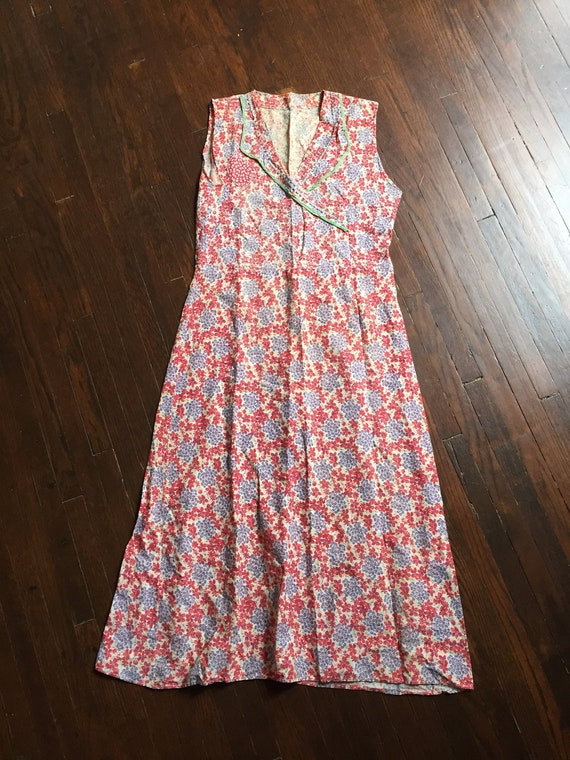1930s Feedsack Cotton Floral Print Dress