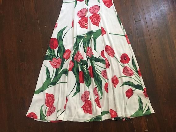 1980s Ribbed Cotton Jersey Tulip Print Dress - image 5