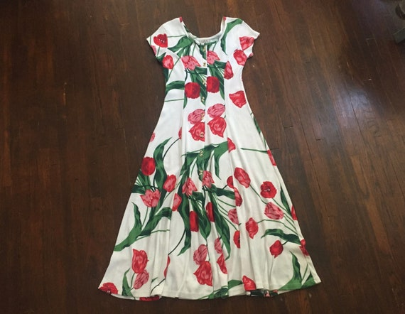 1980s Ribbed Cotton Jersey Tulip Print Dress - image 1