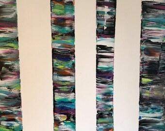 Multi-Color Birch Tree Original Acrylic Painting