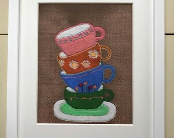 "Tea Cup Stack - 8""x10"" Art Print"